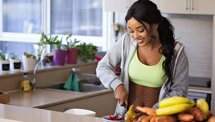 healthy food smiling woman
